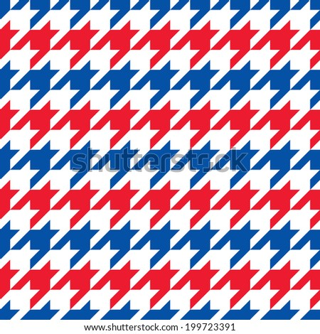 Patriotic Houndstooth Pattern in red, white and blue horizontal stripes repeats seamlessly. - stock photo