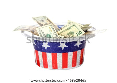 Patriotic party hat full of money