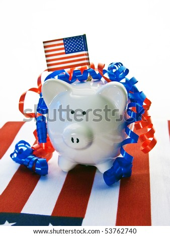 Patriotic Piggy Bank with red and white ribbons and American flag