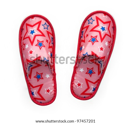 Patriotic pink/ blue slippers with colorful star design isolated on white background - stock photo