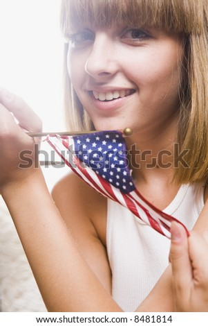 patriotic pretty model - stock photo