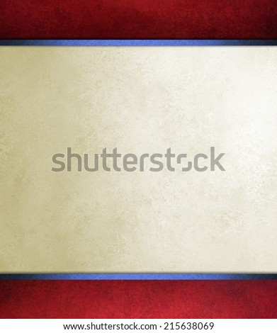 patriotic red white and blue background with vintage texture and stains and blue ribbon trim on red border - stock photo