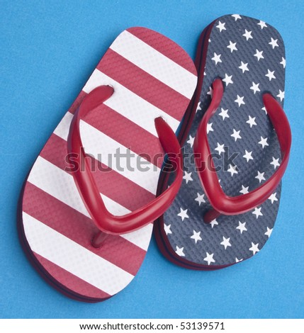 Patriotic Red White and Blue Flip Flop Sandals Ready for the 4th of July!