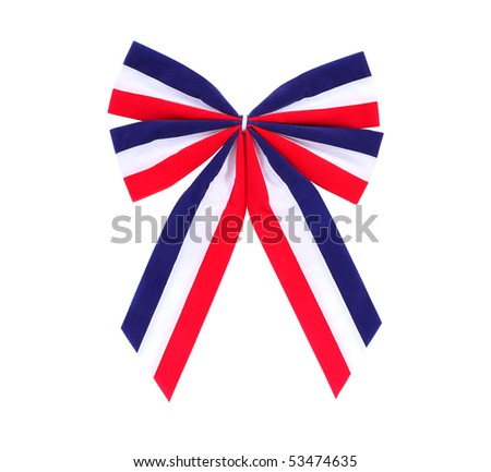 Patriotic red, white and blue holiday bow. - stock photo