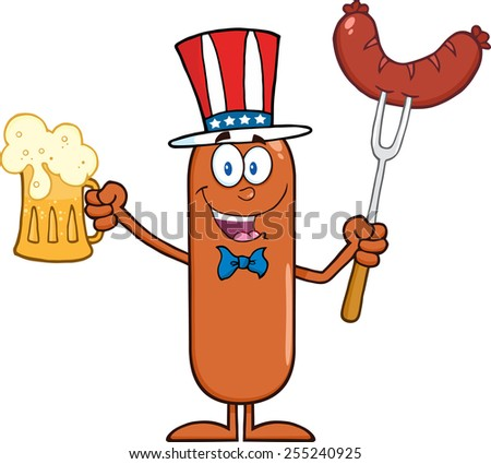 Patriotic Sausage Cartoon Character Holding A Beer And Weenie On A Fork. Raster Illustration Isolated On White - stock photo