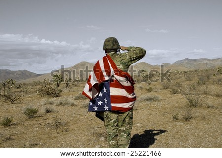 Patriotic Soldier - stock photo