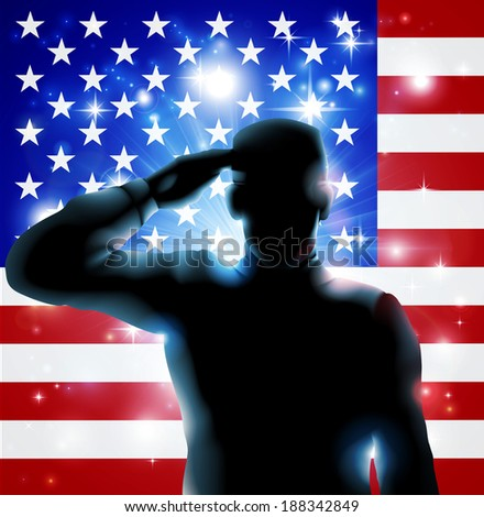 Patriotic soldier or veteran saluting in front of an American flag Fourth July, Verterans Day or Independence Day illustration  - stock photo