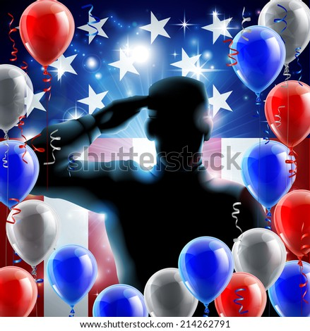 Patriotic soldier or veteran saluting in front of an American flag veterans day background with red white and blue balloons and streamers - stock photo