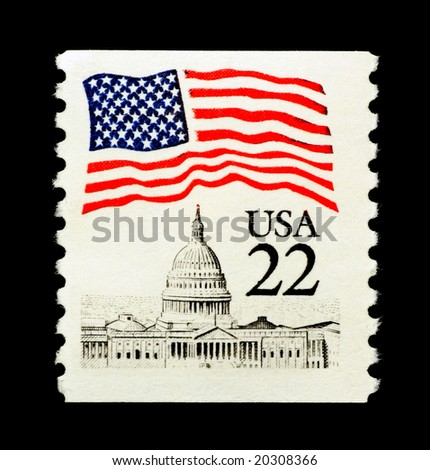 Patriotic stamp featuring usa capitol and flag - stock photo