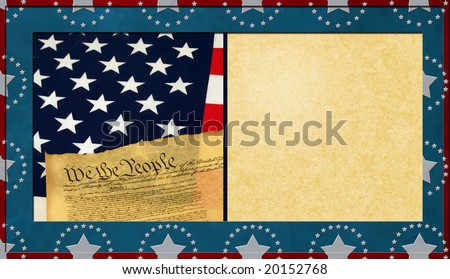Patriotic Textured Background with Antique Paper Copy Space - stock photo