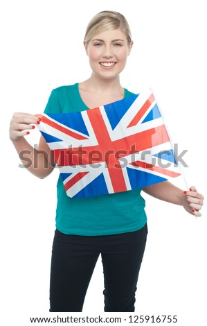 Patriotic UK teen supporter displaying national flag over white background.