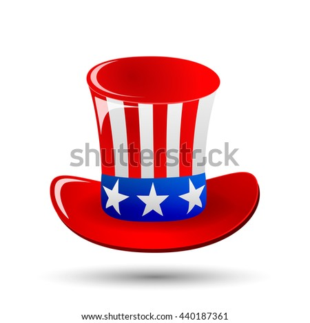Patriotic Uncle Sam hat for 4th of July public holiday card greetings in format. Cartoon or doodle style. isolated on white background. American stars and stripes.