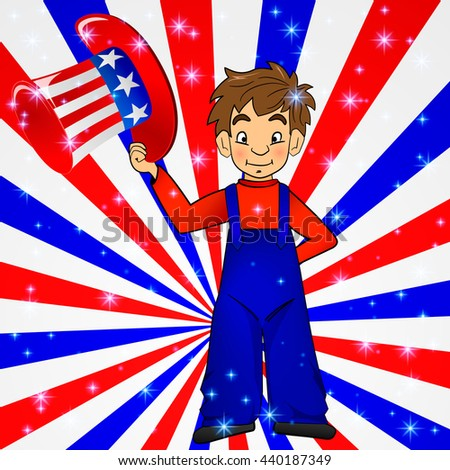 Patriotic Uncle Sam hat in young america boy hand: for 4th of July public holiday card greetings. Cartoon, doodle style. American stars, stripes background in national colours: red blue white - stock photo