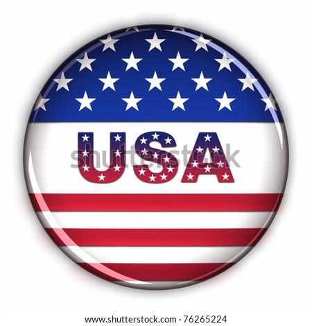 Patriotic USA button over white background - stock photo