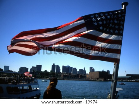 Patriotic view of Boston Harbor - stock photo
