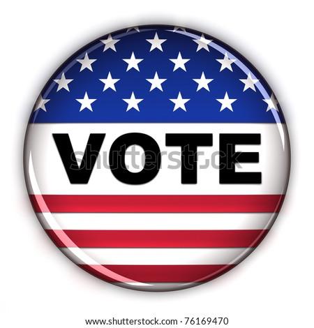 Patriotic vote button over white background - stock photo