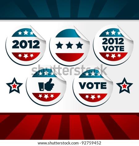 Patriotic Voting Stickers. - stock photo