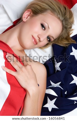 Patriotic Woman - stock photo