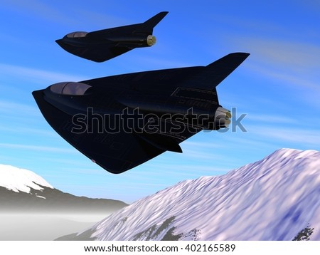 patrol of two futuristic fictional black stealth jet aircraft flying near snowy mountains