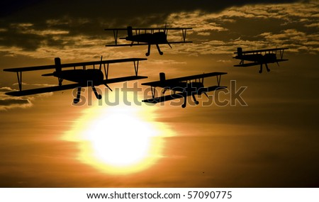Patrolling airplanes at the sunset - stock photo