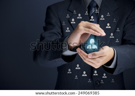 Patron, customer care, protection, customer personalization, individual customer relationship, care for employees, CRM, social customer service, marketing niche segmentation concepts. - stock photo