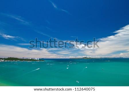 Pattaya , Balihy foreland andLan Island  bird eye view, Thailand - stock photo