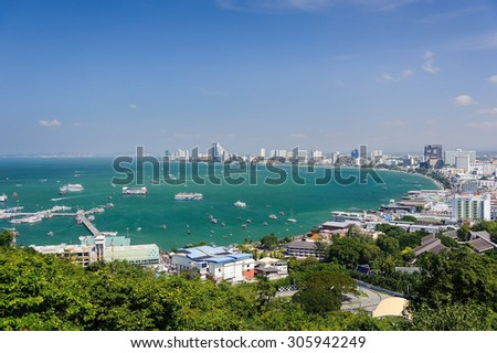 Pattaya bay area seen from top observation point - stock photo