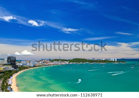 Pattaya beach and city  bird eye view, Chonburi, Thailand - stock photo