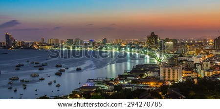 Pattaya city and sea at twilight time, Thailand - stock photo