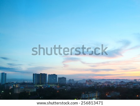 Pattaya City and Sea in sunrise and morning Twilight, Thailand - stock photo