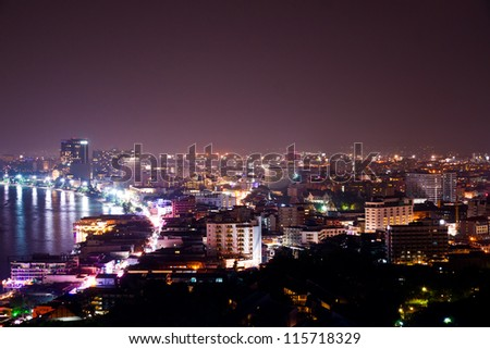 Pattaya City at night, famous tourist attraction in Thailand - stock photo