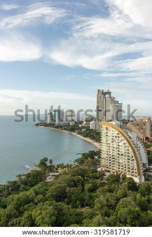 Pattaya City beautiful aerial view of Pattaya gulf and skyscrapers in day time in North Pattaya, Thailand. Pattaya City is famous about sea sport and night life entertainment. - stock photo