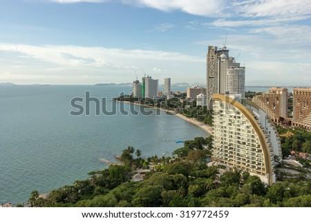 Pattaya City, Beautiful Panorama Aerial view of Pattaya gulf, Luxury Spa Resort Hotel, skyscraper Clear Blue Sky daytime, North Pattaya, Thailand. Famous about sea sport and night life entertainment. - stock photo