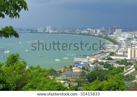 Pattaya city from observation point on the hill. Thailand - stock photo