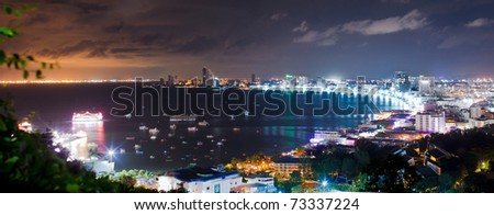 Pattaya City Harbor Panorama - stock photo