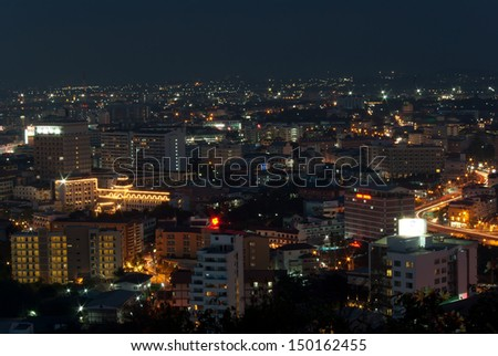 Pattaya City, viewed from the southern side of the city, Thailand