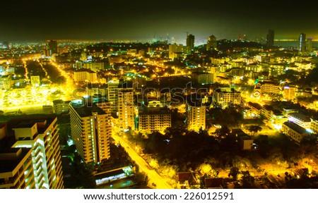 Pattaya cityscape at twilight time - stock photo