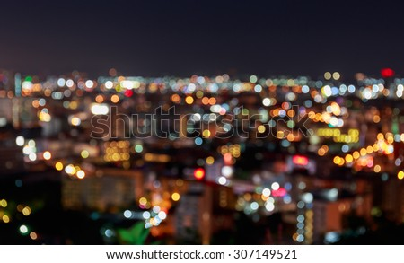 Pattaya cityscape at twilight time, Blurred Photo bokeh and Abstract blur pattaya city background on twilight times  - stock photo