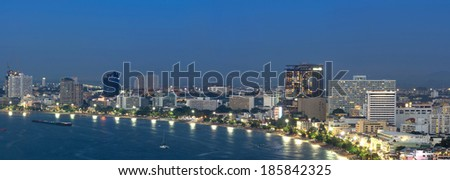 Pattaya cityscape Modern building sea beach side at twilight time,Thailand