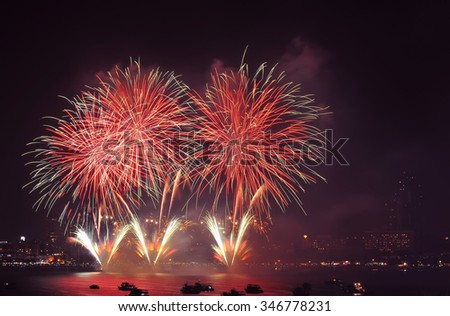 Pattaya International fire work in 2015, Fire work of thailand show, Pattaya Thailand 2015, For use new year 2016 work. ,International fire work competition, Fire work - stock photo