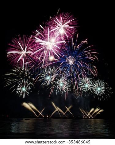Pattaya International Fireworks Festival 2015, isolated on black background - stock photo