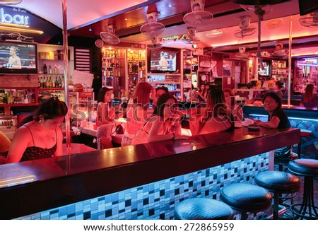 PATTAYA, THAILAND - APRIL 4, 2015: Girls in a night club - stock photo
