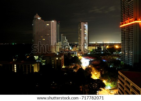 PATTAYA, THAILAND - August 19, 2017: Pattaya city at night time, it is a resort city that located on the east coast of the Gulf of Thailand, Chonburi, Thailand. August 19, 2017
