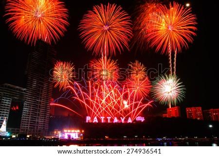 PATTAYA, THAILAND - Countdown 2015 , January 1, 2015  in Balihy foreland , South Pattaya,  Pattaya City Chonburi,  Thailand. - stock photo