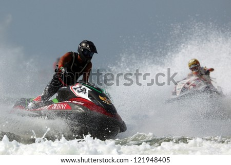 PATTAYA, THAILAND - DECEMBER 7 :  Aero Sutan Aswar, Indonesian driver in the race of Jet Ski World Cup Grandprix 2012 on December 07, 2012 in Jomthein beach Pattaya, Thailand
