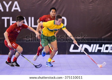 PATTAYA,THAILAND FEB4:Monckton Jeremy#5 of Australia contols the ball during the Men's World Floorball Championships Qualifications 2016 between Thailand and Australia on February4,2016 in Thailand
