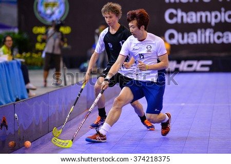PATTAYA,THAILAND FEB5:Soon Seung woo of Korea in action during the Men's World Floorball Championships Qualifications 2016 between Korea vs New Zealand on  February5,2016 in Thailand