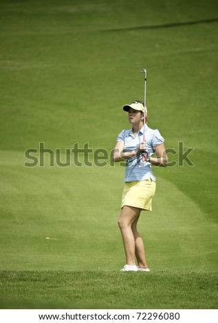 PATTAYA, THAILAND - FEBRUARY 18: American golf player Paula Creamer in action during day two of Honda LPGA Thailand 2011 on February 18 2011 at Siam Country Club Old Course in Pattaya, Thailand
