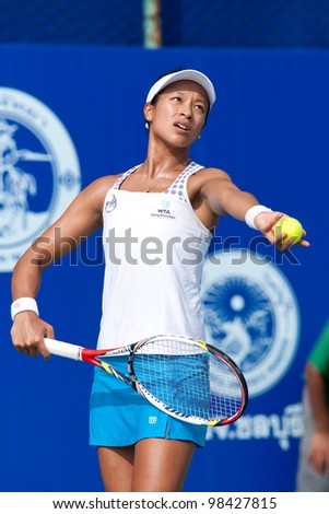 PATTAYA THAILAND - FEBRUARY 9: Anne Keothavong of Great Britain prepares for the 1st serve during Round 2 of PTT Pattaya Open 2012 on February 9, 2012 at Dusit Thani Hotel in Pattaya, Thailand - stock photo
