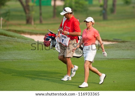 PATTAYA, THAILAND-FEBRUARY 17: Cristie Kerr of USA walks towards hole 1 during Round 2 of Honda LPGA 2012 on February 17, 2012 at Siam Country Club Old Course in Pattaya, Thailand